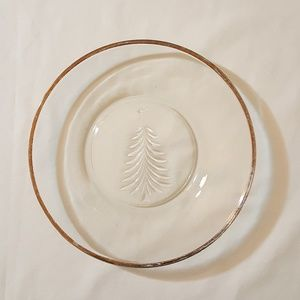 Clear Glass plate with Christmas tree